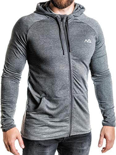 Natural Athlet Herren Fitness Trainingsjacke in Anthrazit - Männer Sportjacke mit Kapuze für Fitnessstudio, Gym, Bodybuilding, Sport in Größe L