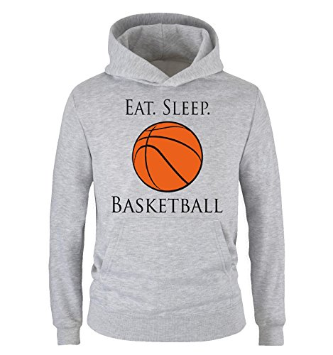 Comedy Shirts - EAT. SLEEP. BASKETBALL - Kinder Hoodie - Grau / Schwarz-Orange Gr. 152/164