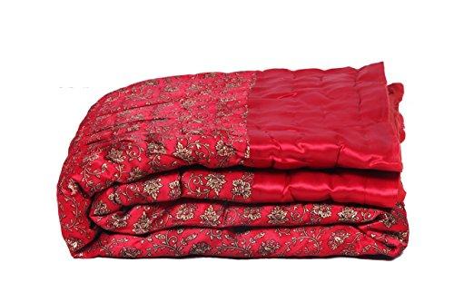 Jaipur Textile Hub Double Floral Silk Jaipuri Quilt/Razai(Size:90*108 inch Approx)