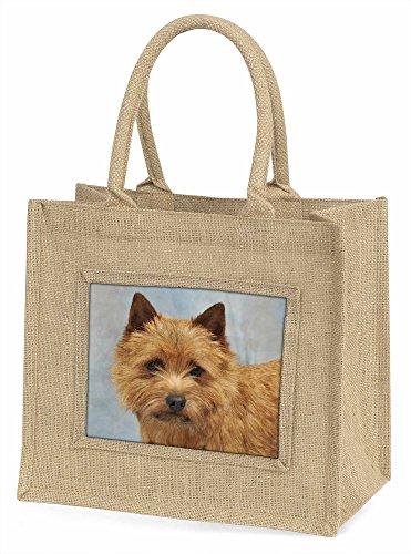 Advanta norfolk-norwich Terrier Hund Große Einkaufstasche/Weihnachten Geschenk, Jute, beige/natur, 42x 34,5x 2cm (Terrier Norfolk)