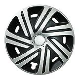 Autoteppich Stylers 16 Zoll Radkappen Radzierblenden universal – CYRKON (Schwarz-Silber) in Verschiedenen Größen für Fast alle PKW!