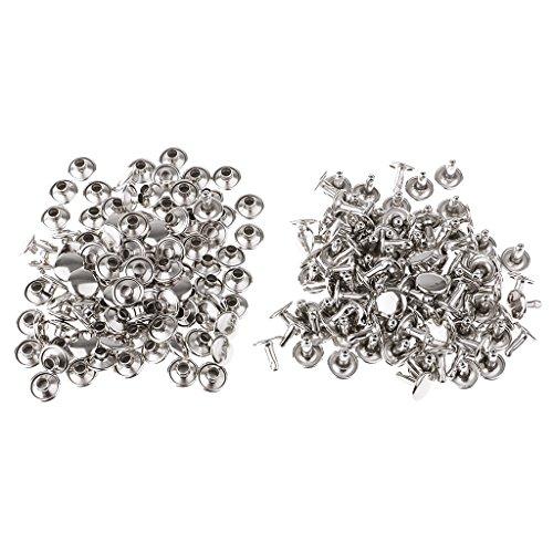 B Baosity 100 Stück Leder Nieten Doppelkappe Nieten Ziernieten Druckknöpfe für Leder Handwerk Reparieren Dekoration - Silber, 9 mm x 5 mm, 9 mm x 8 mm
