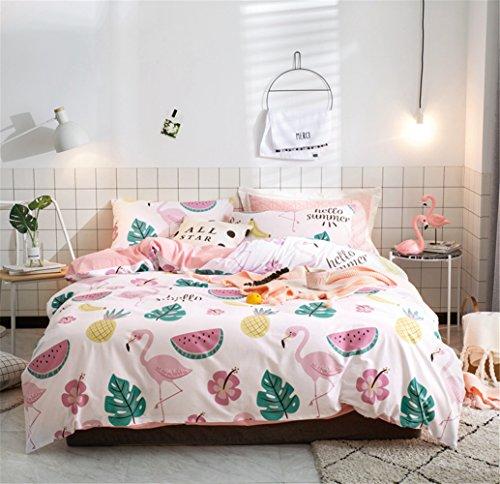 Bettwäsche Bettlaken Bettbezug Bettdecke Set 4 Stücke 100% Reiner Baumwolle Zeitgenössische Blume Mit 1*Bettbezug 1*Spannbettuch 2* Kissenbezüge, Voller Königin Bett Größe,C,Queen -