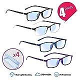 Gafas de Lectura, 4 pares Gafas de Bloqueo de Luz Azul UV, con 4 Estuches de Gafas Portátiles, para Hombres Mujeres (+1.5, 4 mezcla de colores)
