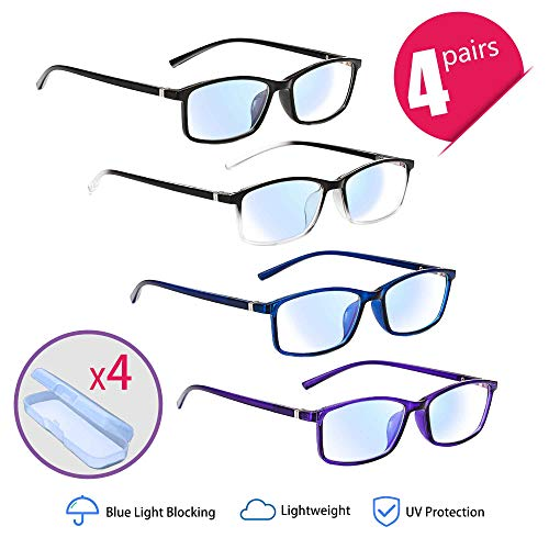 Gafas Lectura, 4 pares Gafas Bloqueo Luz Azul UV
