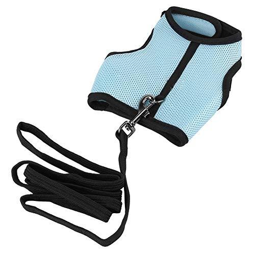 Kaninchen Harness Leine Set 2 Farben Geschirr Set Kleine Tiere Pet Sicherheit Walking Weste mit Blei Leine Pet Walk Blei(Blue M)
