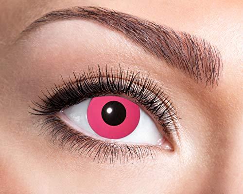 Eyecatcher - Lentes de contacto de colores UV - Flash Pink - brillan en la luz negro - 12 meses - 2 lentillas (1 par) - Ideal para carnaval Halloween y fiesta