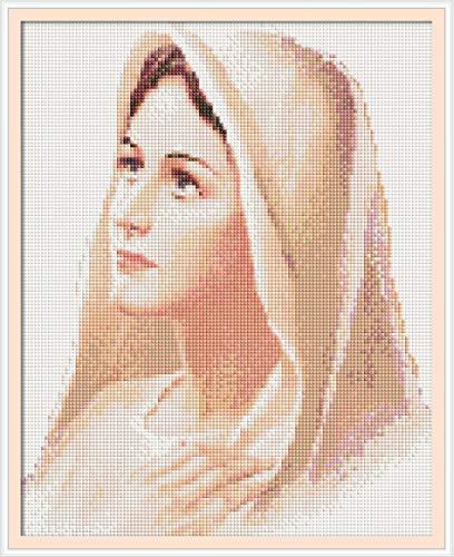 t Malerei by Number Kit, Bohrer Kreuzstich Kit Handwerk Wandaufkleber für Wohnzimmer Dekoration, Heilige Mutter (30x38 cm / 12x15 Zoll) ()
