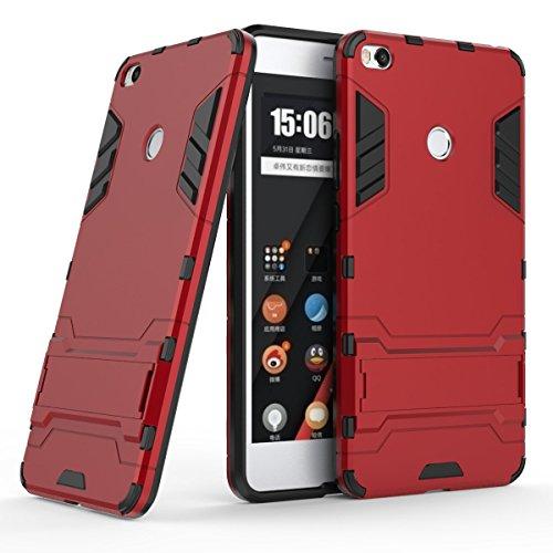 XiaoMi Mi Max 2 Funda, SMTR Ultra Silm Híbrida Rugged Armor Case Choque Absorción Protección Dual Layer Bumper Carcasa con pata de Cabra para XiaoMi Mi Max 2 ,rojo