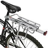 PedalPro Einstellbarer Fahrrad-Gepäckträger hinten, mit Reflektor - Silber