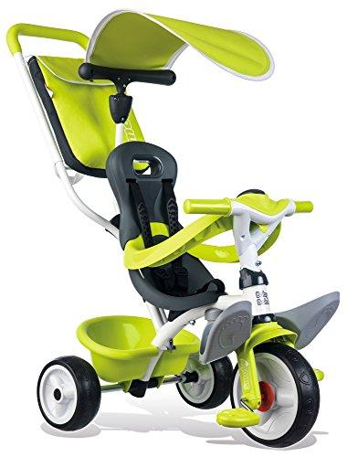 Smoby Toys- 741100- Tricycle Baby Balade 2, Tricycle Evolutif avec roues silencieuses, Dispositif roue libre, Vert 3032167411006