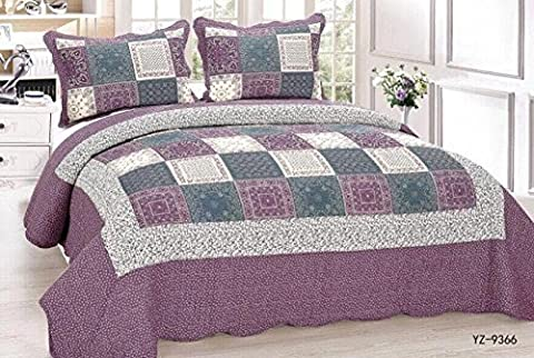 T&A Traders® 100% Cotton 3PCs Quilted Patchwork Bedspread Throws Fits Both Double And King Size Beds And Includes 2 Matching Pillow Shams (YZ9366 Plum/Aubergine)
