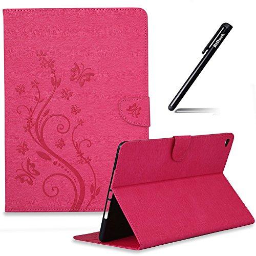 BtDuck iPad Air 2 Hülle, Hülle für iPad Air 2/ iPad 6 Ultra Slim Ledertasche Schmetterling Retro Blume Flip Case Magnetverschluss Weiche Silikon Backcover Briefcase Lederhülle Handyhülle Heiß Rosa