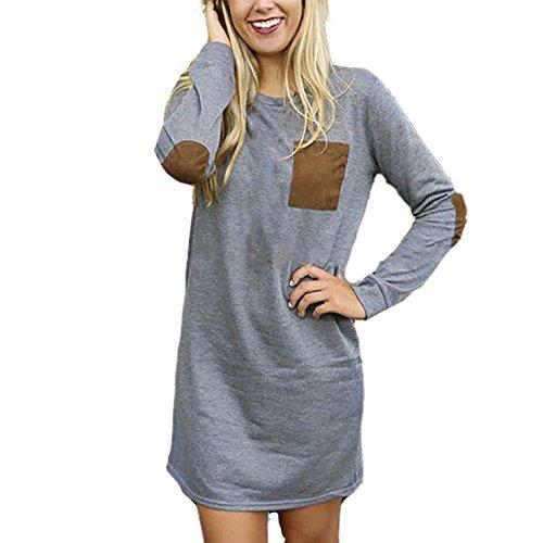 Damen Langarm Hemd Kleider Lange Ärmel Kleid Casual Loose Blusen Langshirt Oberteile A-Linie T-Shirt Tops Grau