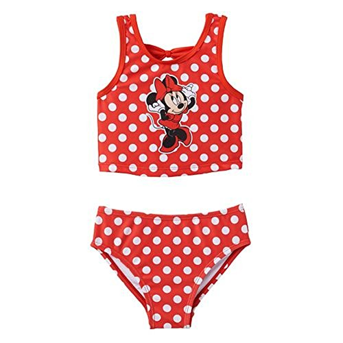 Kleinkind M?dchen Minnie Mouse Dancing Polka-Dot 2 St¨¹ck Tankini Badeanzug Set Rot 2T (Badeanzug 2t)