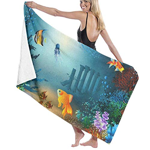 xcvgcxcvasda Serviette de bain, Underwater Coral Fishes Personalized Custom Women Men Quick Dry Lightweight Beach & Bath Blanket Great for Beach Trips, Pool, Swimming and Camping 31
