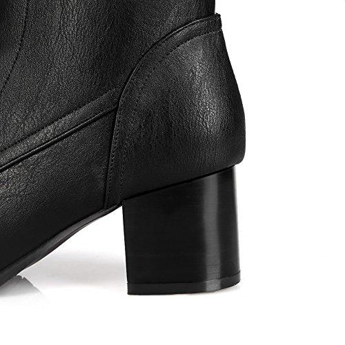 VogueZone009 Femme Couleur Unie à Talon Correct Lacet Rond Bottes avec Nœuds Fleur Noir