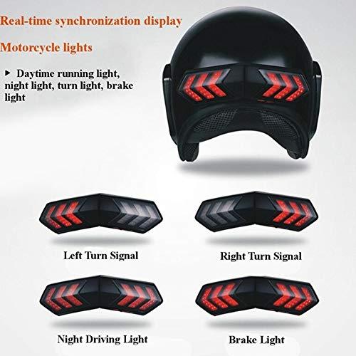 Leoie - Luce per Casco Moto, sincronizzazione in Tempo Reale con luci di Freno e indicatori di direzio