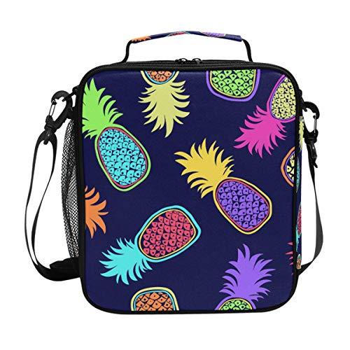 Orediy Isolierte Kühltasche Lunchtasche mit farbigem Ananas, für Kinder, Studenten, Lunch-Set, Box für Reisen, Picknick, Schule, Büro