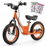 ENKEEO 14'' Prima Bici Senza Pedale per Bambini Bicicletta con Freno Decorazione DIY Altezza meno di 1.3m, Telaio in Acciaio al Carbonio, Sella e Manubrio Regolabile, 1 Campana Capacità fino a 50kg, Arancione