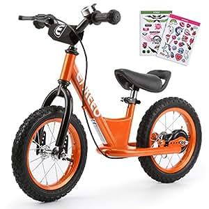 """ENKEEO 12"""" Draisienne Pas de Pédale de Contrôle Vélo de Marche de Formation de Transition avec Siège Réglable et Guidon Rembourré pour Les Enfants (Orange)"""