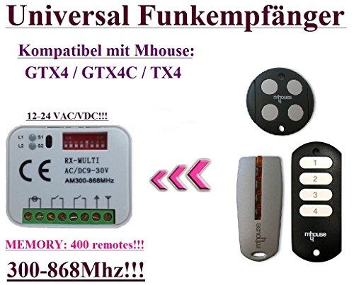 Universal Funkempfänger kompatibel mit Mhouse GTX4, Mhouse GTX4C, Mhouse TX4 handsender. 2-befehl Rolling Fixed code 300Mhz-868Mhz 12 - 24 VAC/DC - Control Board Torantriebe