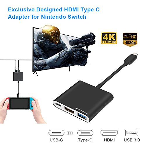 Price comparison product image Nintendo Switch Dock,  USB Type-C to HDMI Adapter for Nintendo Switch Type C Male to HDMI / USB 3.0 / Type-C Female Charging Port Converter Cable Hub for MacBook Pro