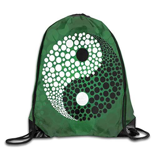 HLKPE Digital Made Yin Yang Form Nature Zen Drawstring Backpack Gym Bag Travel Backpack Purple Lotus Mandala Small Drawstring Backpacks Women Men Adults