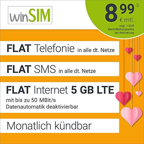 winSIM Geschenktarif LTE All 5 GB - mtl. kündbar (FLAT Internet 5 GB LTE mit max. 50 MBit/s mit deaktivierbarer Datenautomatik, FLAT Telefonie, FLAT SMS und EU-Ausland 8,99 Euro/Monat)