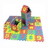 Puzzle Tapis Mousse Bébé Alphabet Et Chiffres Set De 36 Carrés 66 x 66 cm Enfant Bas Âge EVA Jeu Éducatif Amovibles