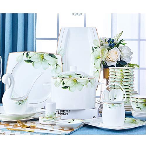 Schüsseln und Teller Suit Dinner Set, 10 Personen 46 Stück Weiß + Gold Trim Keramik Luxus Besteck-Set - Ai Trim