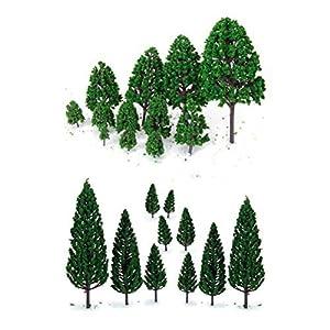 NUOLUX 22pcs grün Mini Baum Set Szenerie architektonische Landschaft Modell Bäume