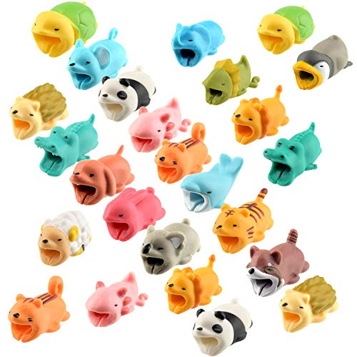 TUPARKA 25 PCS Protector Cable Cute Animals,Mordeduras