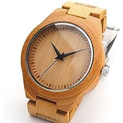 Woody Armbanduhr Fashion 2016Für Herren natürliches Bambus Holz Armbanduhr mit Armband und Japanisches Quarz-Uhrwerk