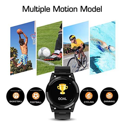 Smartwatch Herren, GOKOO Smart Watch Stylische IP67 Wasserdicht Sportuhren Männer Jungen Fitness Tracker Aktivitätstracker mit Pulsmesser Kalorienzähler Schlaftracker für Android IOS (Schwarz) - 2