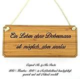 Mr. & Mrs. Panda Hunde Türschild Dobermann Classic Schild - 100% handgefertigt aus Bambus Holz - Hund Hunderasse Tierrasse Tier Tiere Geschenk Geschenke Tierfreund Dog Anhänger Schlüsselanhänger