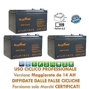 3 X BATTERIA RICARICABILE USO CICLICO PIOMBO 36V 12V Volt 14Ah PER BICI ELETTRICHE 6DZM-
