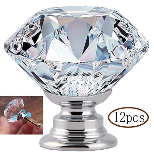 MINGZE 12 Stück 30mm Kristall Türgriff, Schrankknöpfe Schubladenknöpfe Möbelknöpfe Möbelgriffe Möbelknauf Schrankgriffe, Kommode Diamant Glas Griffe für Zuhause Büro DIY (Transparent 30mm | 12St) -