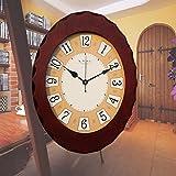 Y-Hui Die hölzerne Wanduhr Wand Tabelle übergroßen Wohnzimmer Art Deco Mute Quarzuhr, 14 Zoll ,027 Braun
