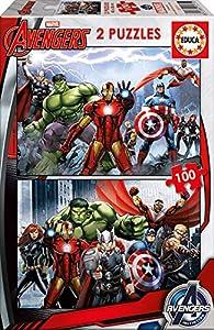 Educa Borrás-Dibujos Animados y cómic Puzzle, 2 x 100 Piezas, diseño Avengers, S.A. 15771