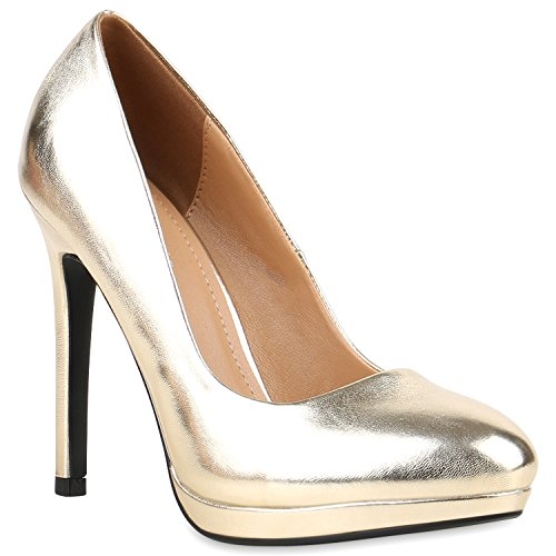 Damen Lack Pumps Stiletto High Heels Metallic Party Abend Plateau Plateau Pumps Schuhe 121246 Gold 41 | (Erwachsene Schuhe Sexy Gold)