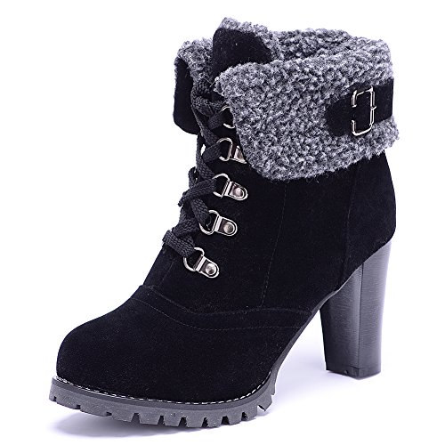 ODEMA Women Suede High Chunky Heel Lace-up Ankle Boots