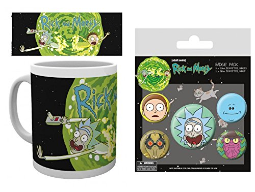 Set: Rick Y Morty, Portal Taza Foto (9x8 cm) Y 1 Rick Y Morty, Set De Chapas (15x10 cm)