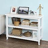 SoBuy FSB06-W Konsolentisch,Flurschrank,Sideboard,Küchenschrank,mit 3 Ablagen, 110x40x80cm, weiß,