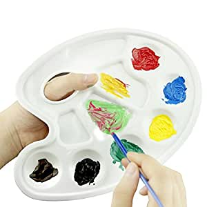 YINGMAN en plastique 7 compartiments Palette de mélange de peinture aquarelle blanc avec dix Palettes et encoche Art pour les artistes du spectacle, peintres, 6 pinceaux en coffret cadeau