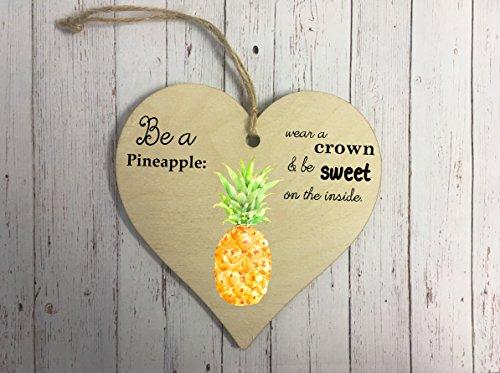 Herz aus Holz zum Aufhängen Dekoration–Ananas dd241