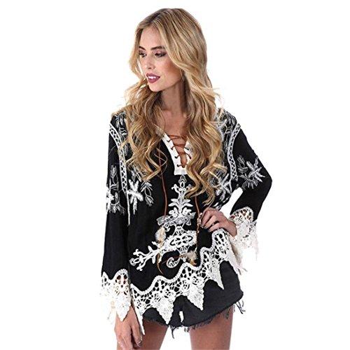 DOLDOA Frauen Bohemia Lace Patchwork V-Ausschnitt Bluse Casual Tops T-Shirt Kittel (Größe: 44 Fehlschlag: 100cm / 39.4