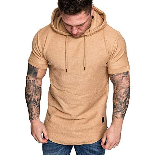 Aiserkly Mode Herren Slim Fit Lässige Große Größe Kurzarm Hoodie Top Bluse -