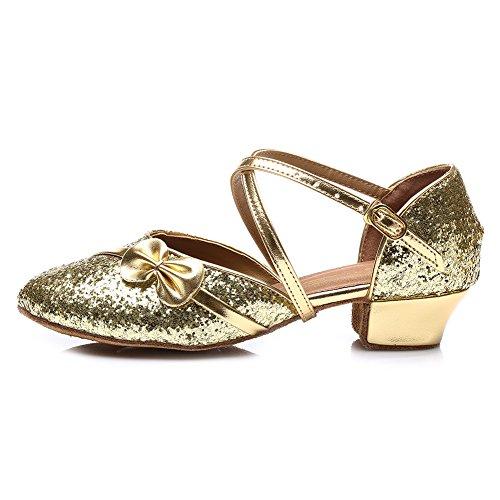 HROYL Mädchen Tanzschuhe/Latin Dance Schuhe Satin Ballsaal Modell-DS-208 Gold