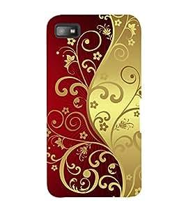 Fuson Designer Back Case Cover for BlackBerry Z10 (red Golden Flowers Design rangoli)